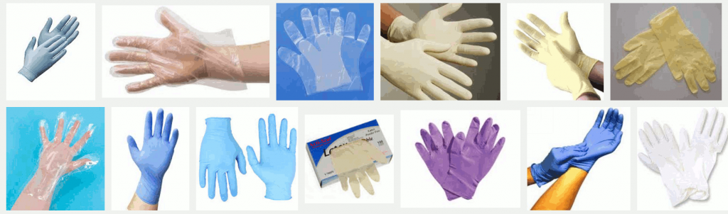 Types of gloves for food service